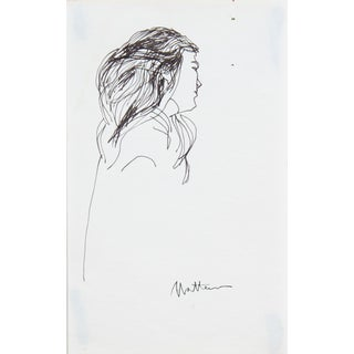 20th Century Side Profile of a Woman in Ink For Sale