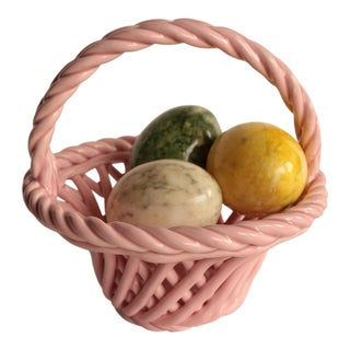 Italian Alabaster Stone Eggs in Ceramic Basket For Sale
