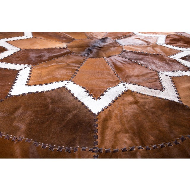 European Design Patchwork Cowhide Rug - 6' X 6' / Hair-On-Hide / Brand New - Image 5 of 10