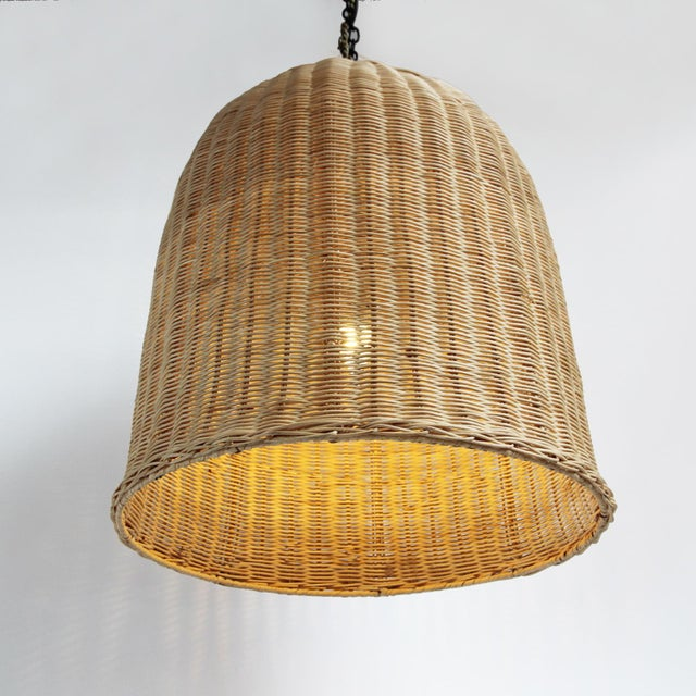 Classic and simple dome shaped wicker pendant lantern. Hand crafted natural raw wicker matte finish. Great texture and...