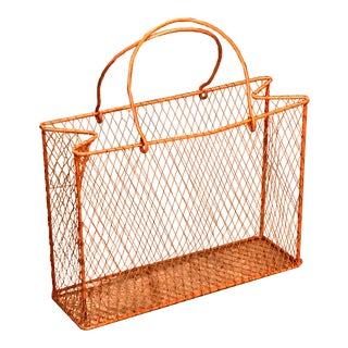 1960s Industrial Orange Metal Magazine Rack