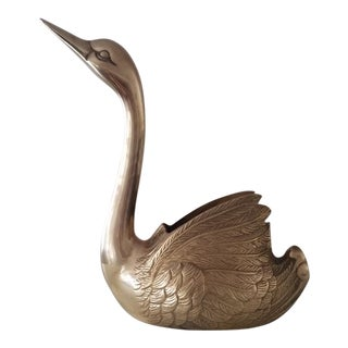 Vintage Brass Swan Planter For Sale