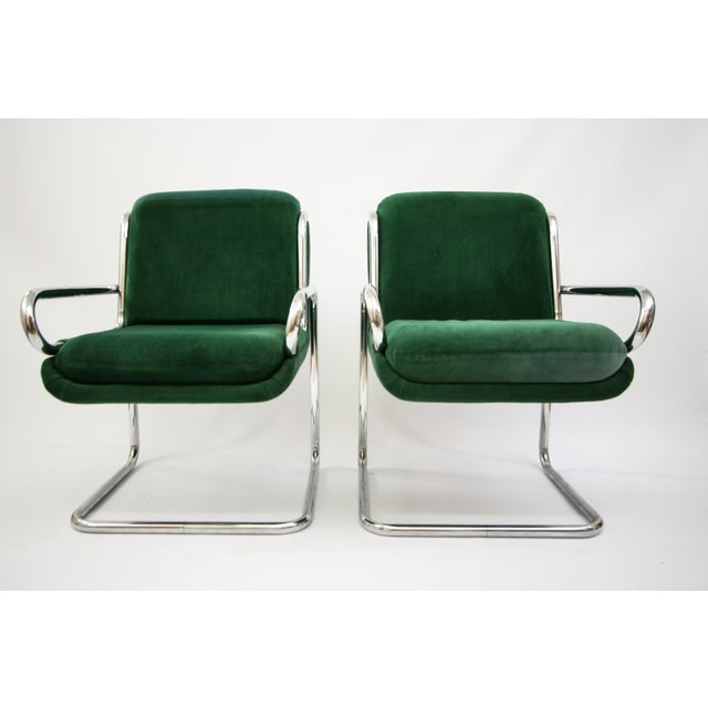Dunbar Reversed Cantilever Tubular Chrome Chairs - A Pair - Image 2 of 7