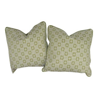 Chinese Kravet Lime and White Chinese Fret Pillows - a Pair For Sale