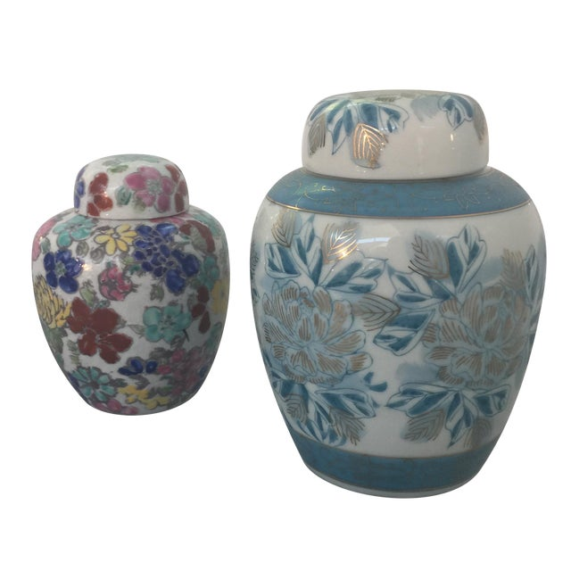 Vintage Japanese Ginger Jars - Pair - Image 1 of 11