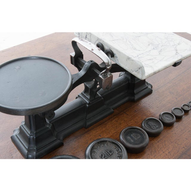 English Traditional English Victorian Cast Iron Scale & Weights - 9 Pc. Set For Sale - Image 3 of 6