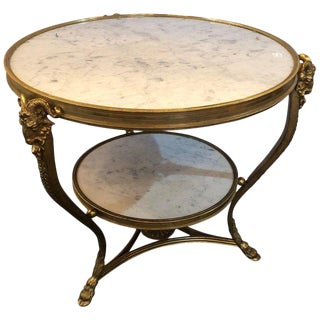 Spectacular Louis XV Style Two-Tier Marble-Top Gueridon Table With Rams Heads For Sale