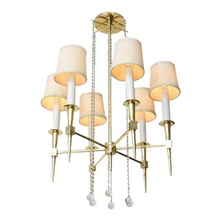 Polished Brass and Glass Beaded Chandelier by Tommi Parzinger For Sale