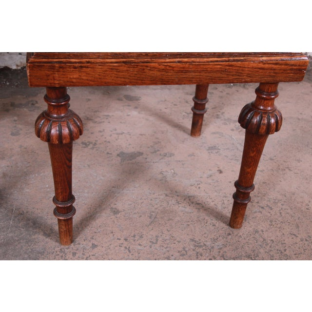 19th Century Victorian Carved Oak Marble Top Nightstands - a Pair For Sale - Image 11 of 13