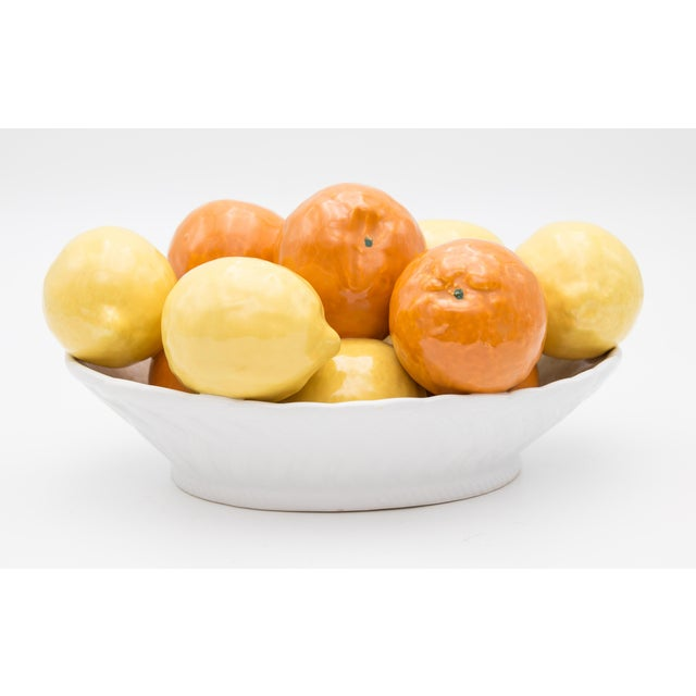 Yellow Vintage Italian Majolica Bowl of Lemons and Oranges For Sale - Image 8 of 8