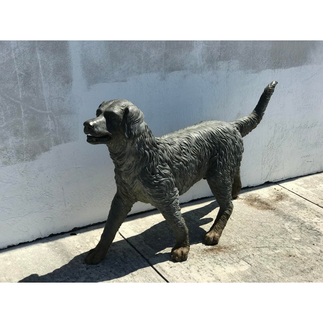 Metal Vintage Bronze Dog Retriever For Sale - Image 7 of 9