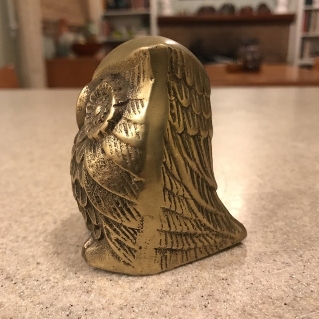 A Mid-Century brass owl paperweight.