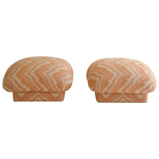 1970s Coral and Cream Flame Stitch Ottomans - A Pair For Sale