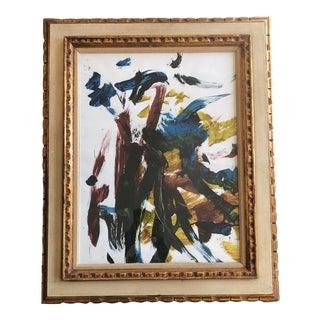 Vintage 1970's Original Abstract Painting Ornate Vintage Frame For Sale