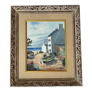 Vintage French Village Seaside Painting