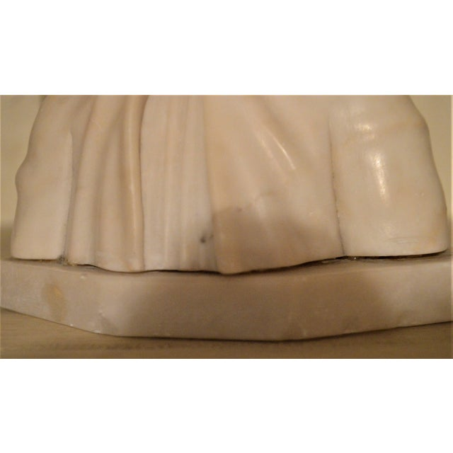 Stone 19th Century Small Marble Bust of Young Girl For Sale - Image 7 of 8