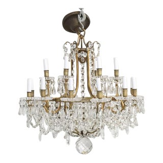 Antique Baccarat Bronze and Crystal Chandelier For Sale
