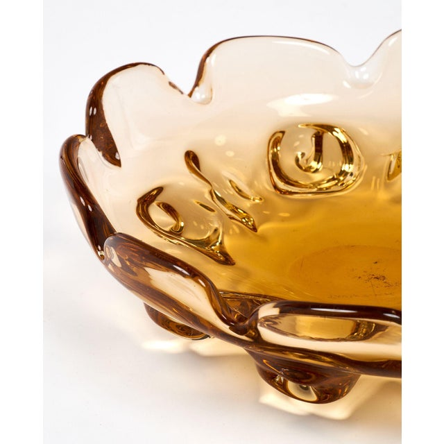 Glass Circa 1950 Murano Glass Amber Bowl For Sale - Image 7 of 10