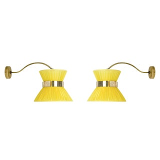 """Yellow """"Tiffany"""" Bracket Wall Sconces - a Pair For Sale"""
