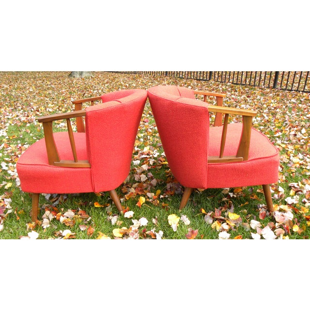 Mid-Century Lounge Chairs in Red - A Pair - Image 5 of 7