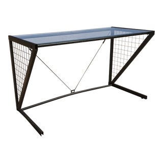 1980s Post-Modern Metal Glass Grid Desk For Sale