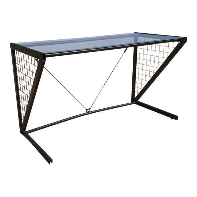 1980s Post-Modern Metal Glass Grid Desk For Sale