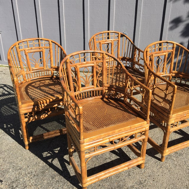 Brighton Pavilion 1970s Vintage Brighton Pavilion Bamboo, Ratan and Cane Chairs- Set of 4 For Sale - Image 4 of 13