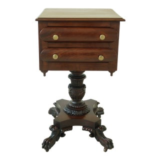 Antique Empire Paw Foot Carved Mahogany Nightstand For Sale