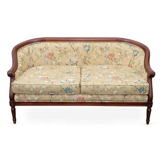 Upholstered Curved Back Settee