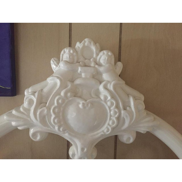 Antique Victorian White Enamel Queen Bed - Image 3 of 3