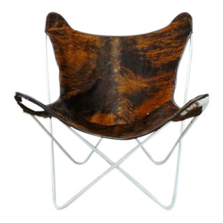 Knoll Mid Century Modern Reupholstered Cowhide Butterfly Chair For Sale