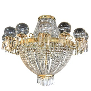 Palatial Neoclassical Brass and Crystal Basket Chandelier with Hanging Prisms For Sale