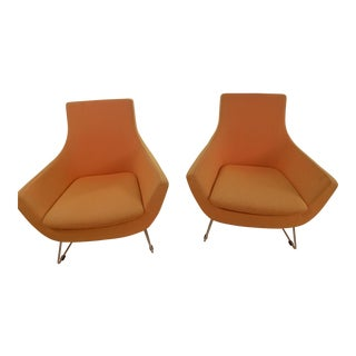 Modern Orange Lounge Chairs - A Pair For Sale
