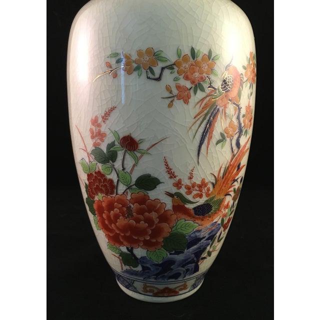 Ceramic Japanese Floral and Bird Crackle Glazed Vase For Sale - Image 7 of 13
