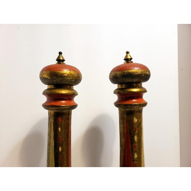 """Rare or Hard to Find Pair of Salt and Pepper Mills Large measuring 20""""H x 3.5""""W Minor wear to the finish Wood with Gold..."""