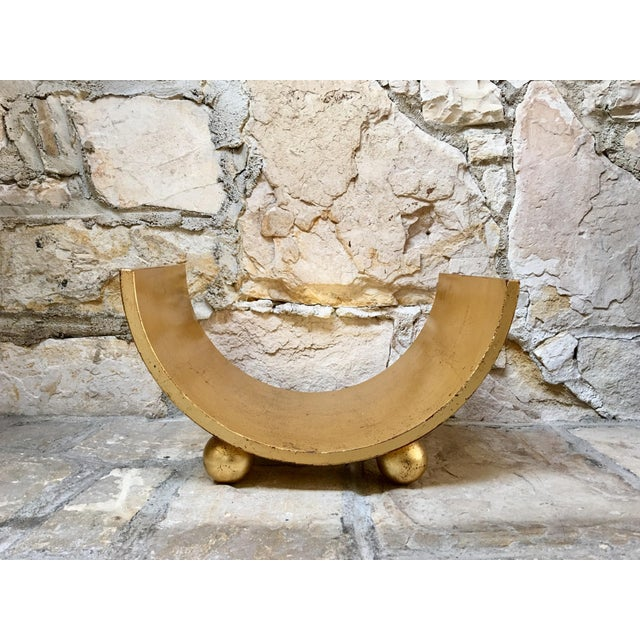 Metal Italian Mid Century Gold Wood Book Holder For Sale - Image 7 of 7