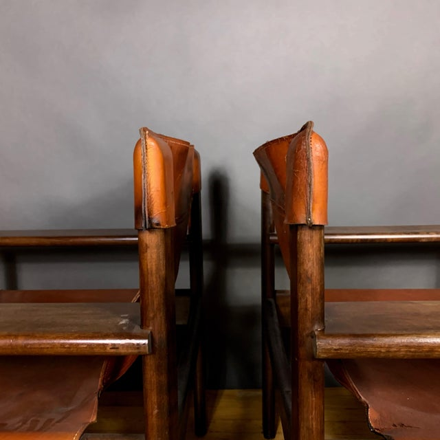 Pair 1970s Saddle Leather Arm Chairs, Mobring Style For Sale - Image 4 of 13