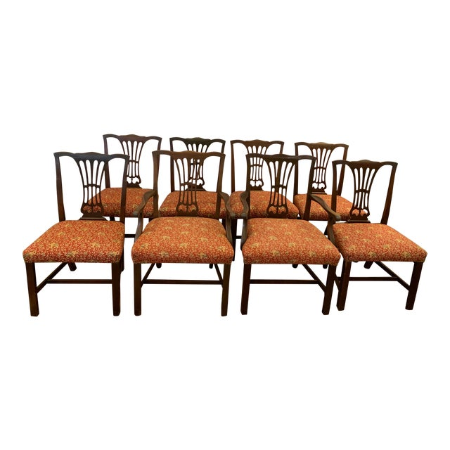 Vintage Chippendale Dining Chairs, Set of Eight For Sale