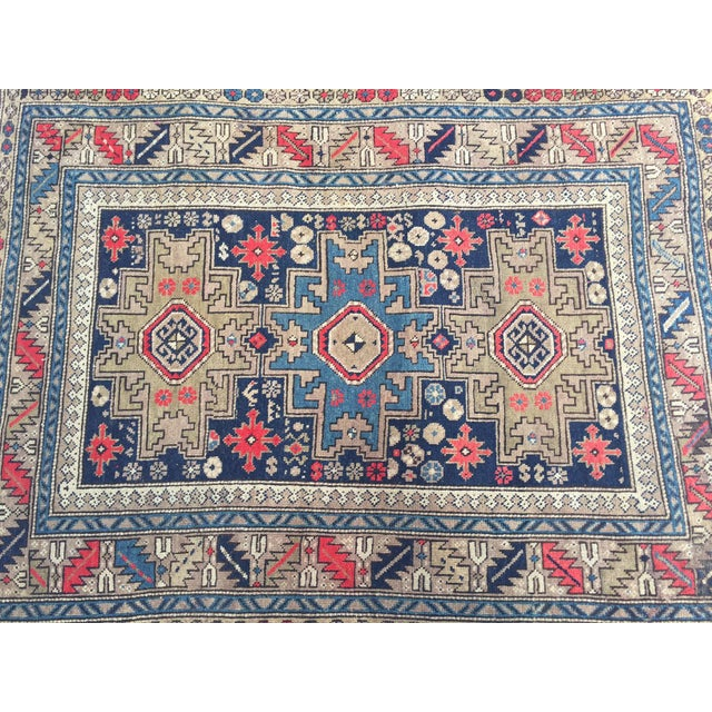 1940s Antique Persian Rug Hand Knotted Caucasian Wool Rug - 3′6″ × 4′9″ For Sale - Image 5 of 8