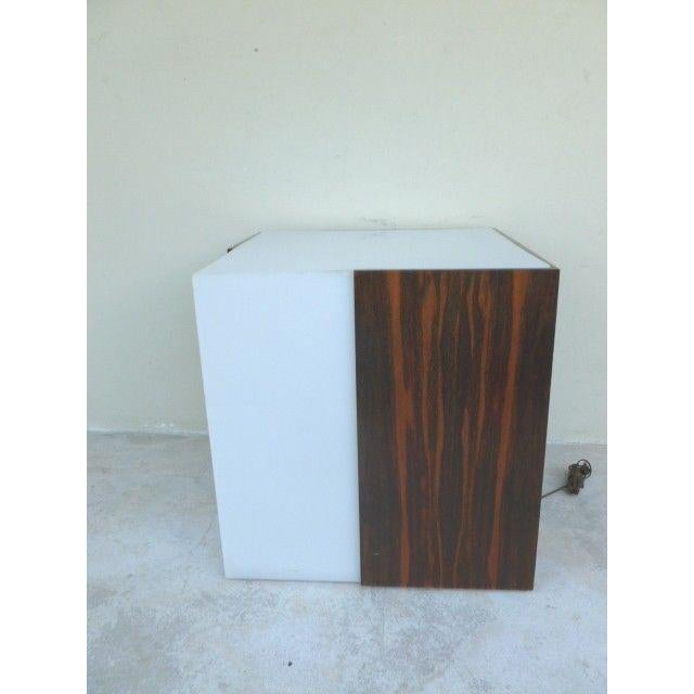 1970s Mid Century Modern Rosewood & Acrylic Floor Lamp Table For Sale - Image 12 of 13