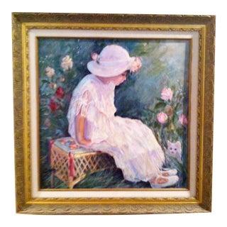 """Vintage Irene Borg Framed Oil Painting """"Ashley"""" For Sale"""