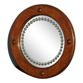 Vintage French Country Farmhouse Round Wall Mirror With Round Convex Mirrored Dots For Sale
