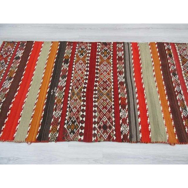Antique Turkish Kilim Striped Embroidered Rug - 3′4″ × 6′9″ For Sale - Image 4 of 6
