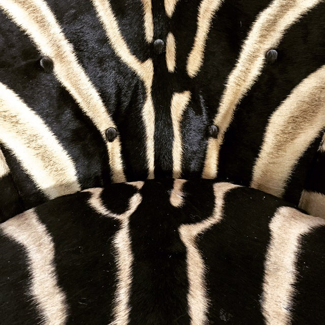 Milo Baughman Swivel Tilt Zebra Club Chairs - Pair - Image 4 of 7