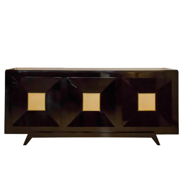 French Ebonized Sideboard with Parchment Doors For Sale