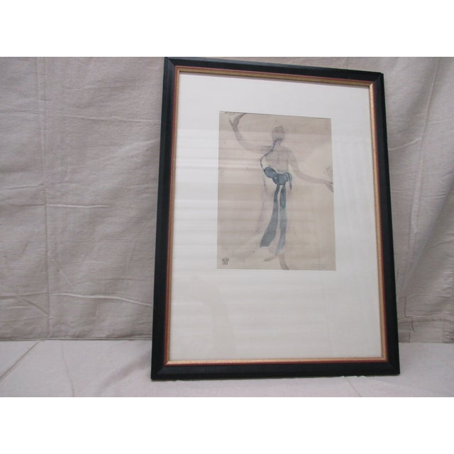 Vintage Framed Rodin Watercolor Prints From Rodin Museum in Paris For Sale In Miami - Image 6 of 6