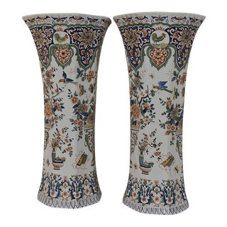 Pair 19th Century Grand Delft Vases For Sale