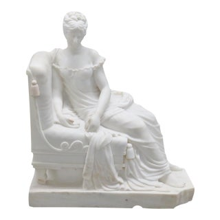 Carrera Marble Statue of Roman Woman For Sale