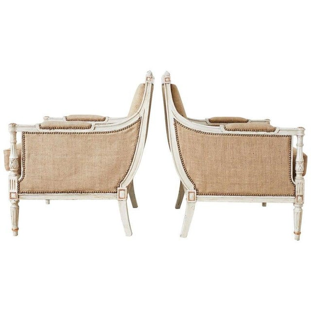 Pair of Louis XVI Swedish Gustavian Style Bergère Armchairs For Sale - Image 4 of 13