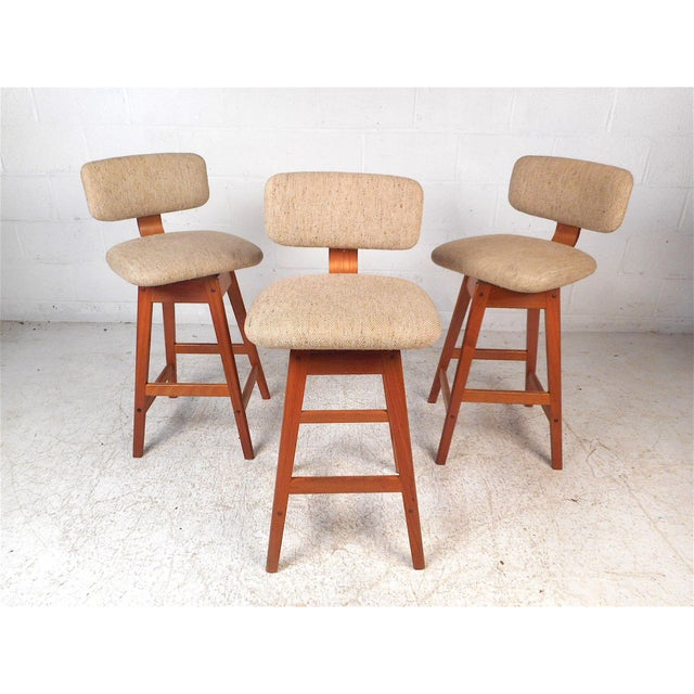 Danish Modern Upholstered Swivel Stools by Vampdrup Stolefabrik, Set of 3 For Sale - Image 13 of 13